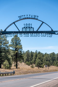 Williams entrance sign, gateway to Grand Canyon