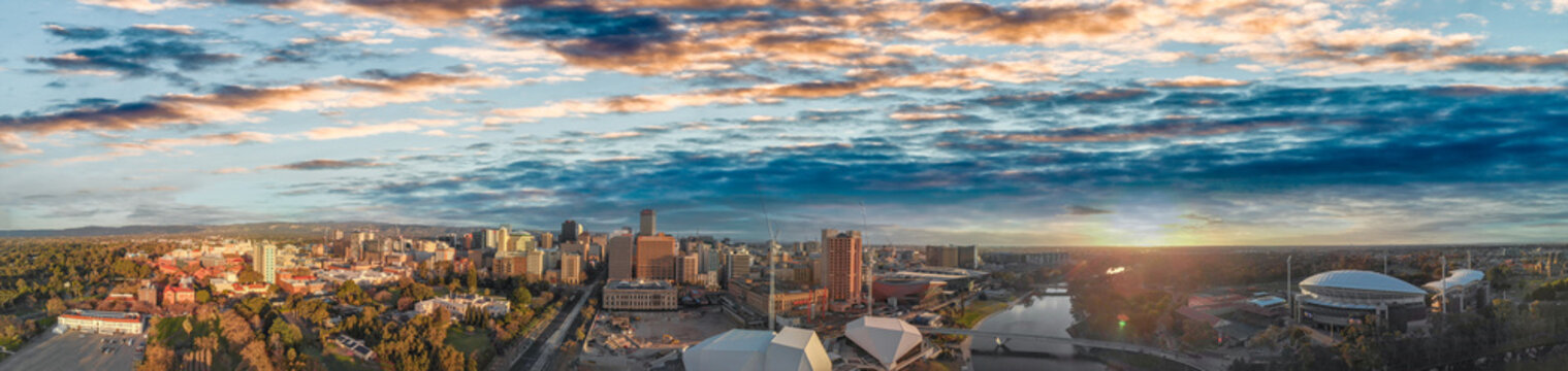 Sunset over Adelaide, South Australia. Beautiful aerial panoramic view