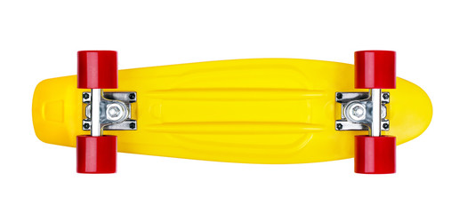 Yellow cruiser penny plastboard with red wheels