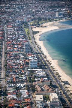Aerial view of St Kilda coastline and buildings, Victoria, Australia