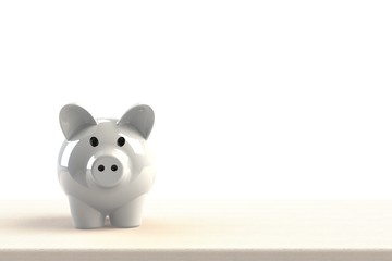 Close up of piggy bank isolated on white background, Copy space, Finance concept, 3d rendering