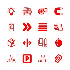 16 line icons with attach interface symbol of a clip and measuring tape in this set