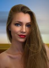 Frauenporträt mit langem Haar