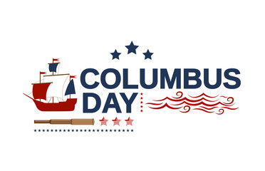 Columbus Day white banner with ship, telescope and waves. Vector illustration.