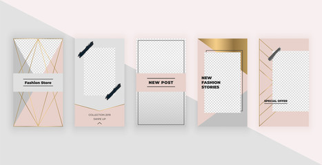 Fashion templates for Instagram Stories. Modern cover design for social media, flyers, card.
