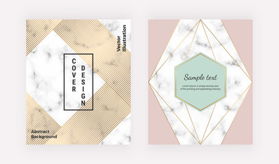 Geometric covers with golden lines on the marble texture. Modern design with polygonal lines. Modern template for brochure, annual report, invitation, card, banner, wedding, placard, flyer