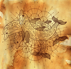 Three dolphins and round circle pattern on old paper textured background. Esoteric, occult, new age and wicca concept, fantasy illustration with mystic symbols and sacred geometry