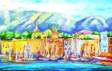 Kyrenia Harbour North Cyprus illustration