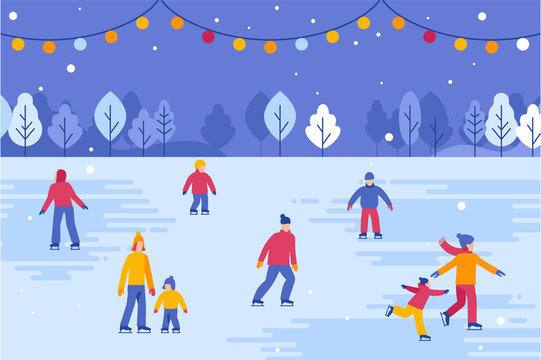 Christmas greeting card, banner, poster with people walking and skating outdoors in winter park