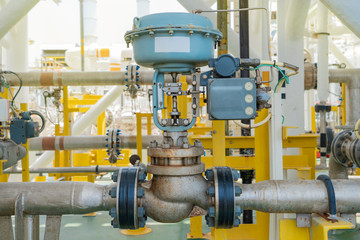 Actuated control valve fail to open type and valve positioner control by programmable logic controller (PLC) to control oil and gas conditioning process. Offshore power and energy business industry.