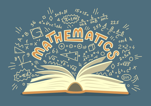 Mathematics. Open book with math doodles with lettering. Education vector illustration.