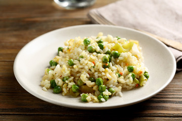 Healthy rice with green peas