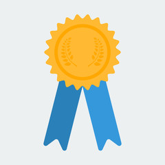 Certificate icon. Reward. Guarantee symbol with ribbons. Vector image.