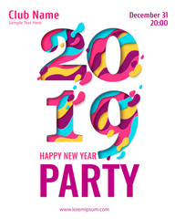 2019 Happy New Year paper art holiday design for seasonal greeting card. Vector winter holiday party invitation with paper cut numbers 2019 background for new year flyers, banners, posters.