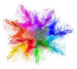 Farbwolke bunt Regenbogen isoliert Colorful rainbow Holi powder cloud isolated