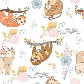 Seamless pattern. Vector animals mums and babies.