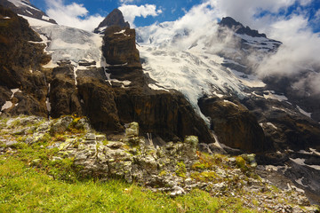 Mountain landscape with glaciers and peaks nearby resort of Kandersteg, Switzerland
