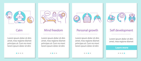 Psychology onboarding mobile app page screen with linear concept