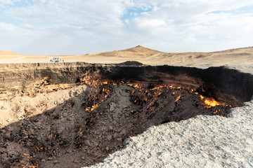 Darvaza Gas Crater in the desert of Turkmenistan - this fire crater exists since a failed gas exploration  took place in 1971