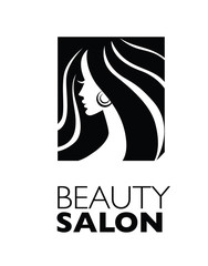 Illustration of woman with beautiful hair - can be used as a logo for beauty salon / spa