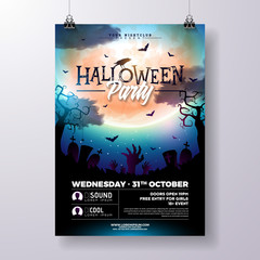 Halloween Party flyer vector illustration with zombie hands and flying bats on mysterious moon background. Holiday design template with spider and cemetery for party invitation, greeting card, banner