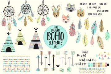 Vector image of a collection of icons in the style of Boho. Cartoon image of dreamcatchers, arrows, feathers, cute animals, fox, deer, raccoon, bear, lodges, Native American motifs, triangles.