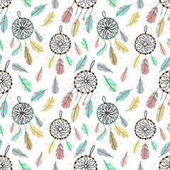 Seamless pattern of dreamcatchers and feathers in boho style. Hand-drawn cartoon illustration using as a print, background, wrapping paper, postcard.