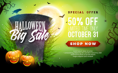 Halloween Sale vector banner illustration with scary faced pumpkin and tombstone on green background. Holiday design with typography lettering for offer, coupon, celebration, voucher or promotional