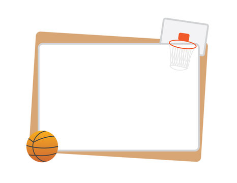 Basketball frame with ball and net isolated