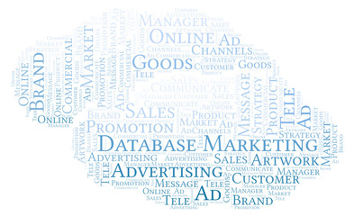 Word cloud with text Database Marketing.