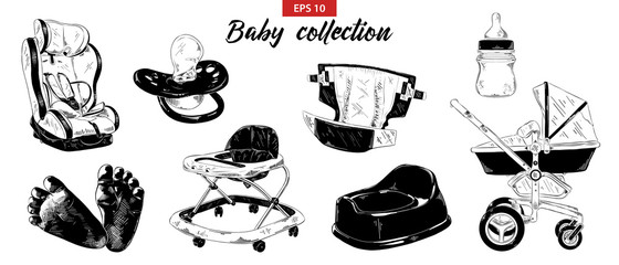 Vector engraved illustration for posters, decoration. Hand drawn sketch set of nipple, baby carriage, car seat, potty, foots, walker isolated on white background. Detailed vintage etching drawing.