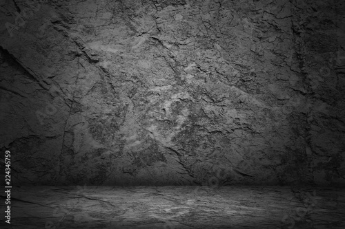 dark and black studio and stone empty room abstract