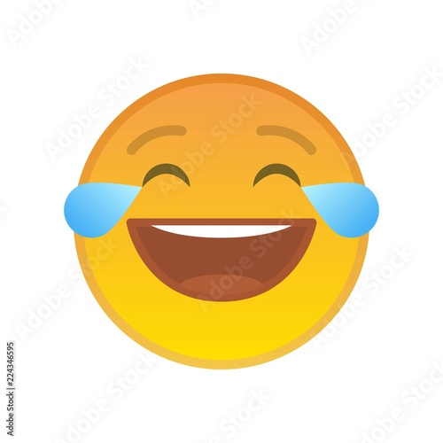 Laughing Emoticon With Tears Of Joy Isolated Sign Lol Yellow Emoji