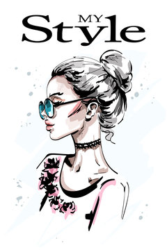 Hand drawn beautiful young woman profile. Stylish elegant blond hair girl in sunglasses. Fashion woman portrait. Sketch.