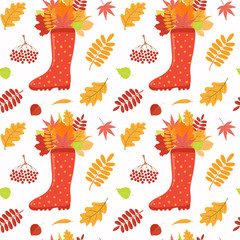 Seamless repeat pattern with wellington boot, falling leaves, on a white background. Hand drawn vector illustration. Flat style design. Concept for autumn textile print, wallpaper, wrapping paper.