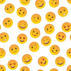 Funny emoticons seamless pattern. Smile faces with facial expressions on white background. Festive background with cute and cheerful yellow emoticons. Positive smile emoji vector illustration
