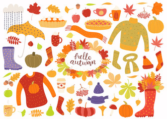 Big autumn set with leaves, acorns, food, pies, mugs, clothes, quote Hello Autumn. Isolated objects on white background. Hand drawn vector illustration. Flat style design. Concept for season change.