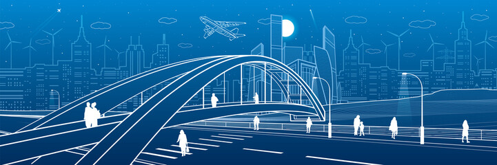 Wall Mural - Pedestrian bridge over the highway. People walking on city street. Modern night town. Infrastructure illustration, urban scene. White lines on blue background. Vector design art