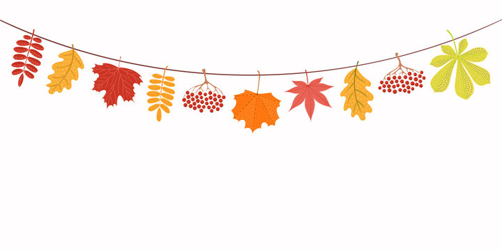 Hand drawn vector illustration with autumn leaves hanging on a string. Isolated objects on white background. Flat style design. Concept for seasonal banner, poster, card.