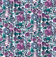 Letters doodle colorful abstract seamless vector pattern