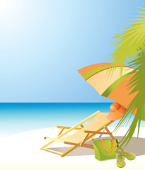 Background with sea, beach umbrella, chaise longue and beach accessories.