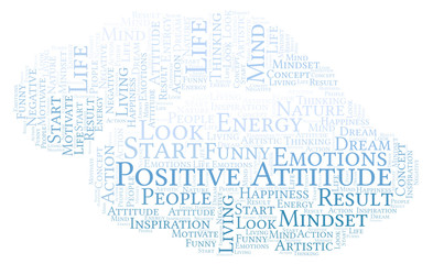 Positive Attitude word cloud, made with text only.