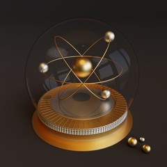 Futuristic symbol of an atom in a crystal ball.Sign for physics or chemistry in the future.