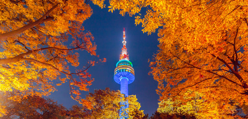 Fall color change at N seoul tower in the autumn where is the landmark of Seoul city in South Korea Wall mural