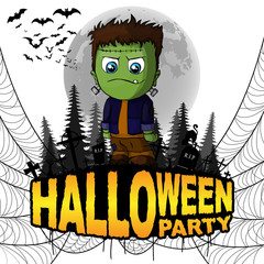 Halloween Party Poster with Frankenstein on a white isolated background. Vector illustration.