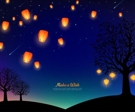 Sky lanterns at night