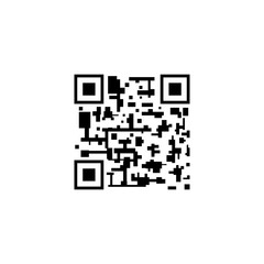 Vector QR Code, Abstract Mark, Icon Isolated on White, Smartphone Scanning Concept.