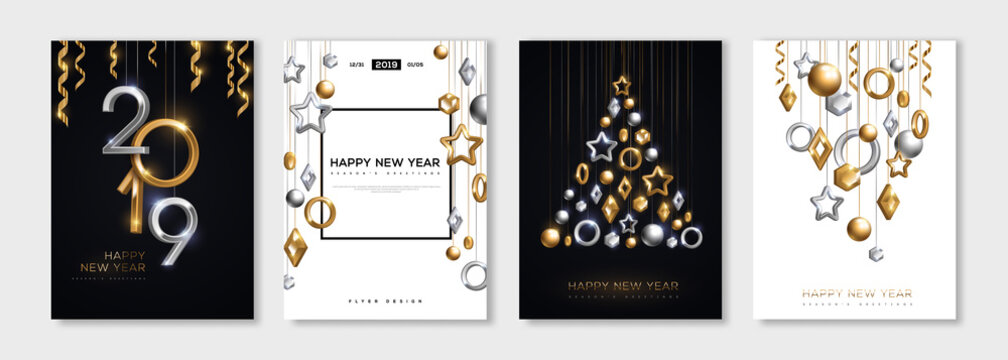 New Year posters set