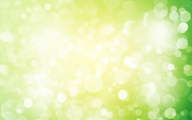 Green and Yellow sparkle rays lights with bokeh elegant show on stage abstract background. Dust sparks background.