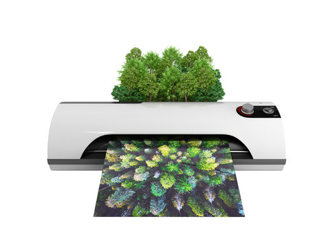Modern high resolution wide format printing concept The real forest is transformed into an image passing through the printer 3d render on white no shadow